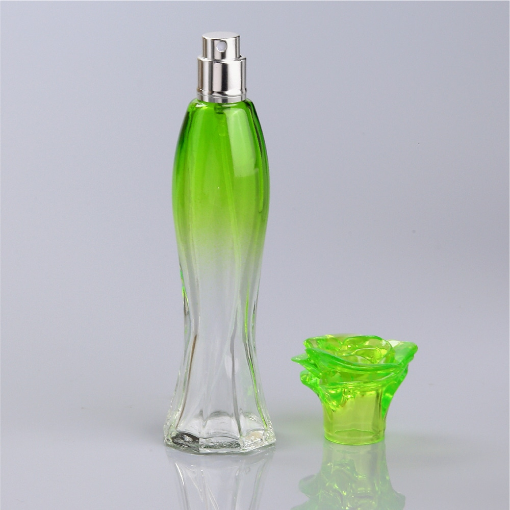 Customized-Gradual-Coating-Green-Glass-Perfume-Bottle